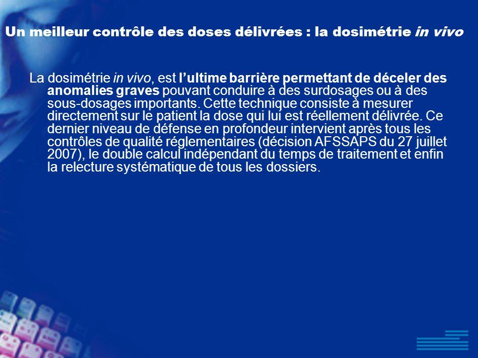 Un meilleur contrôle des doses délivrées : la dosimétrie in vivo La dosimétrie in vivo, est lultime barrière permettant de déceler des anomalies grave