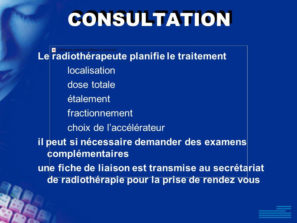 CONSULTATION Le radiothérapeute planifie le traitement localisation dose totale étalement fractionnement choix de laccélérateur il peut si nécessaire