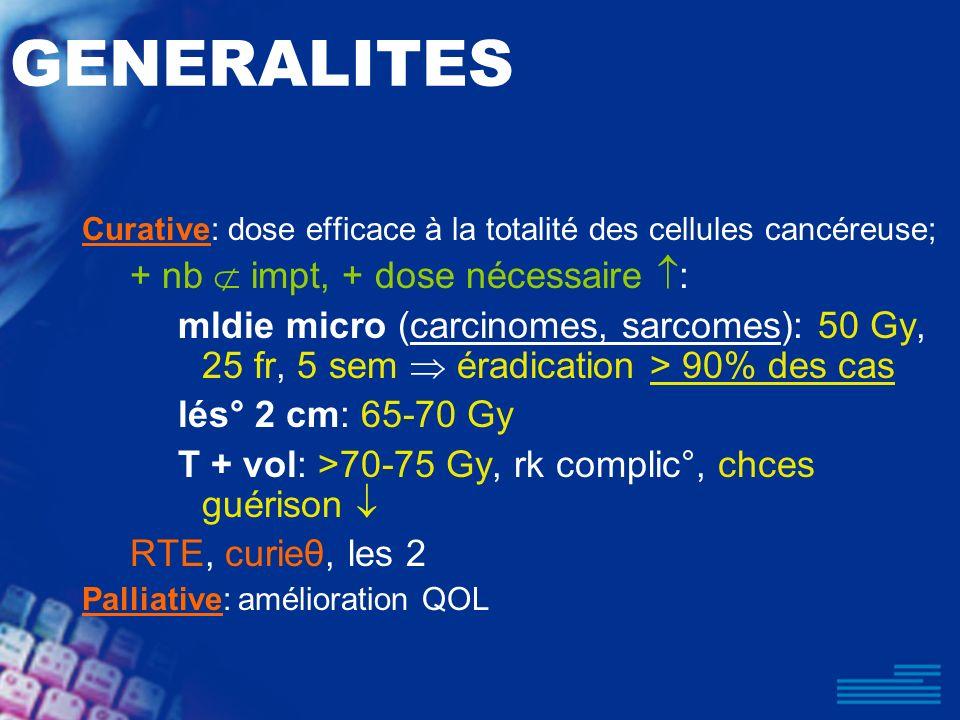 GENERALITES Curative: dose efficace à la totalité des cellules cancéreuse; + nb impt, + dose nécessaire : mldie micro (carcinomes, sarcomes): 50 Gy, 2