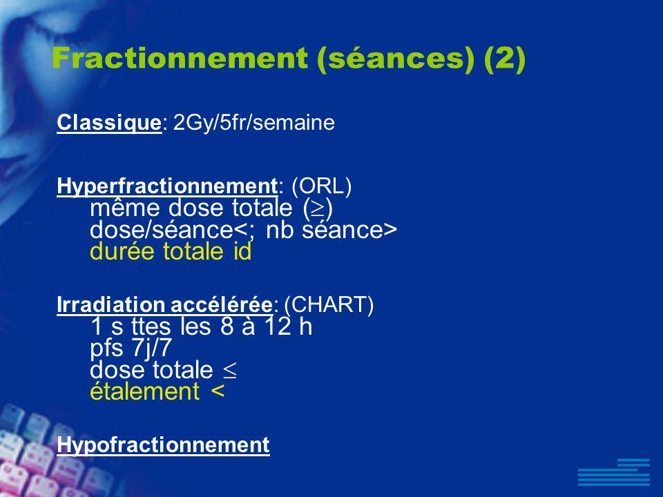 Fractionnement (séances) (2) Classique: 2Gy/5fr/semaine Hyperfractionnement: (ORL) même dose totale ( ) dose/séance durée totale id Irradiation accélé