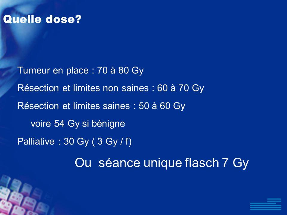 Quelle dose? Tumeur en place : 70 à 80 Gy Résection et limites non saines : 60 à 70 Gy Résection et limites saines : 50 à 60 Gy voire 54 Gy si bénigne
