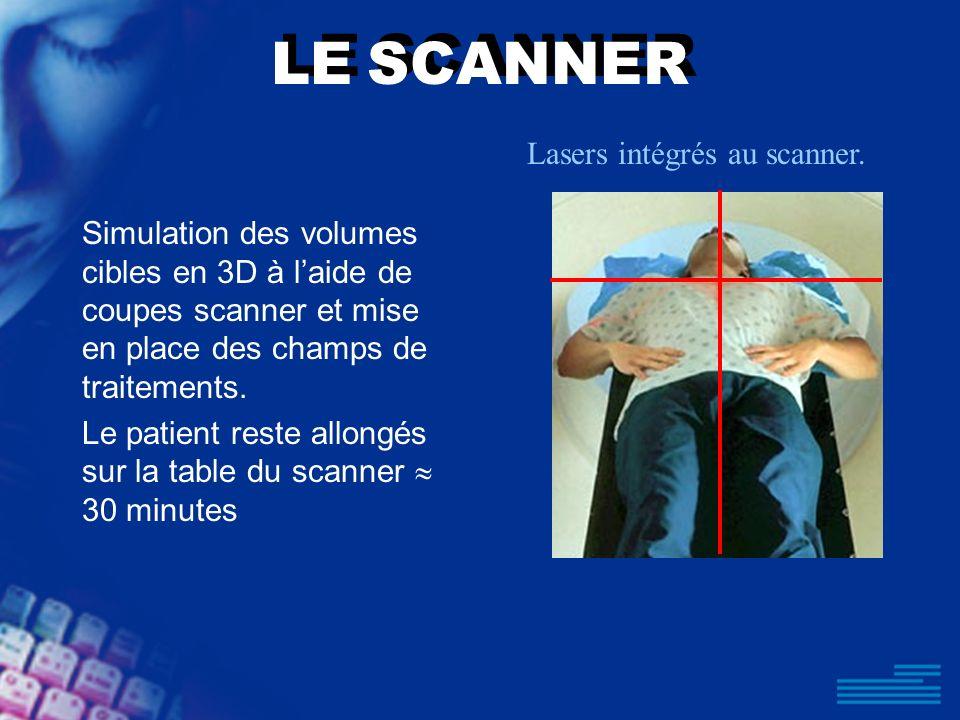LE SCANNER Simulation des volumes cibles en 3D à laide de coupes scanner et mise en place des champs de traitements. Le patient reste allongés sur la