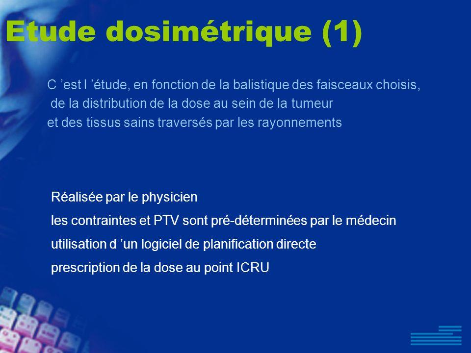 Etude dosimétrique (1) Réalisée par le physicien les contraintes et PTV sont pré-déterminées par le médecin utilisation d un logiciel de planification