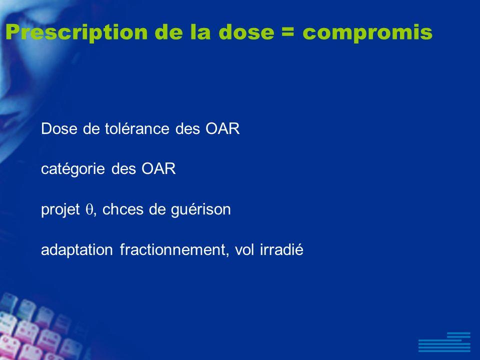 Prescription de la dose = compromis Dose de tolérance des OAR catégorie des OAR projet, chces de guérison adaptation fractionnement, vol irradié