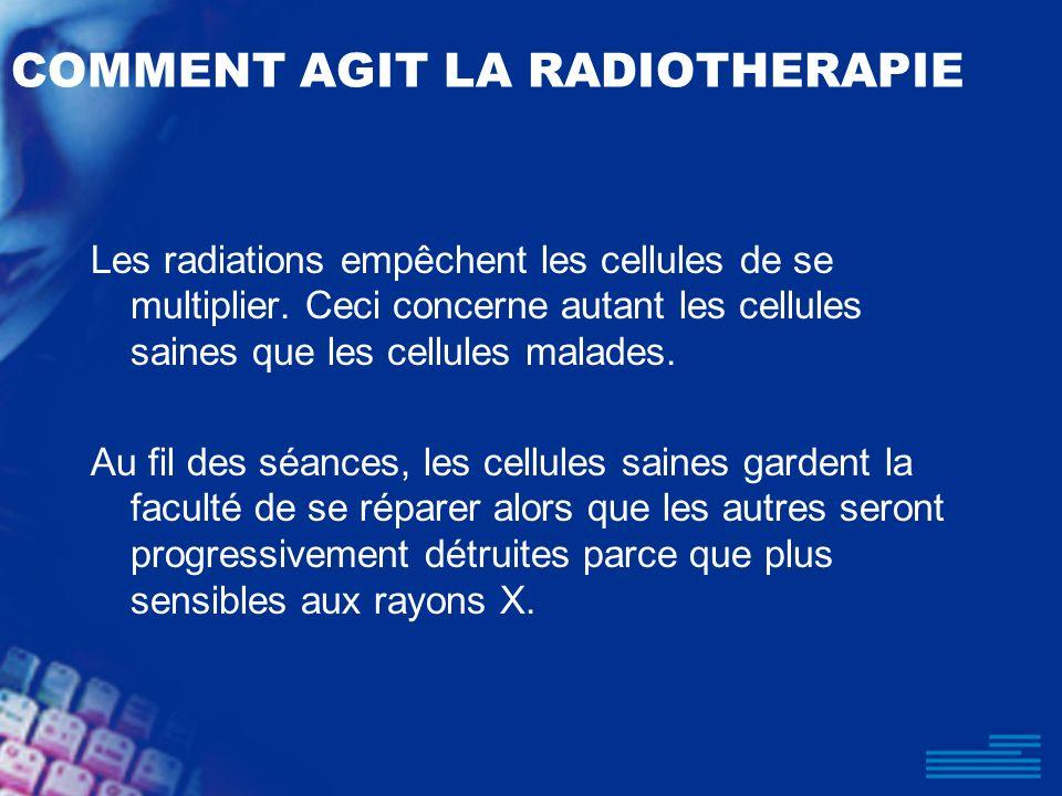 COMMENT AGIT LA RADIOTHERAPIE Les radiations empêchent les cellules de se multiplier. Ceci concerne autant les cellules saines que les cellules malade