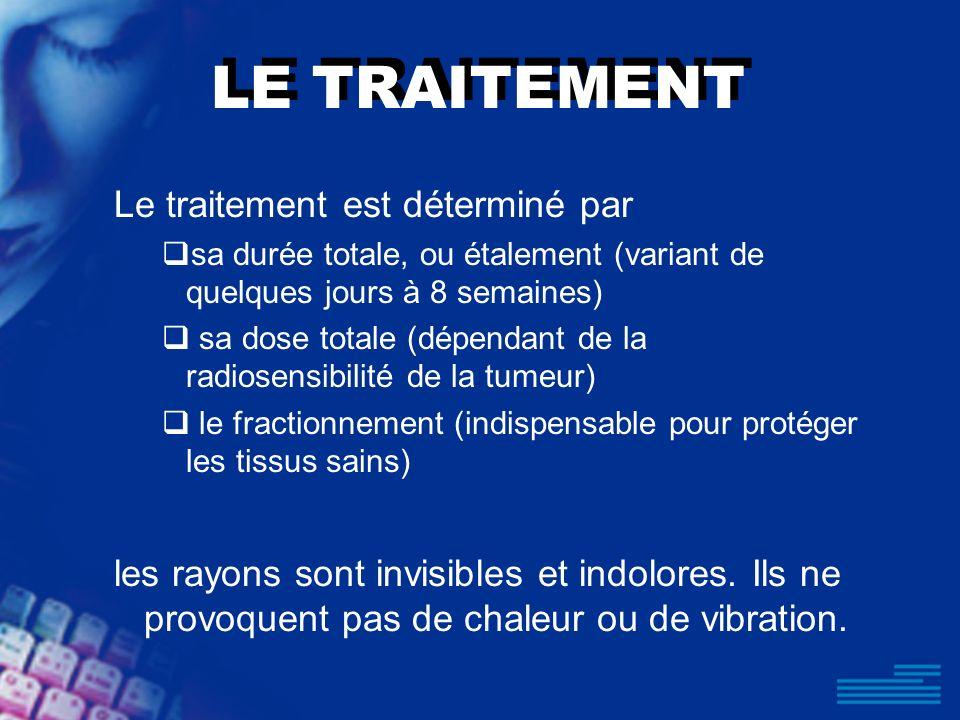 LE TRAITEMENT Le traitement est déterminé par sa durée totale, ou étalement (variant de quelques jours à 8 semaines) sa dose totale (dépendant de la r