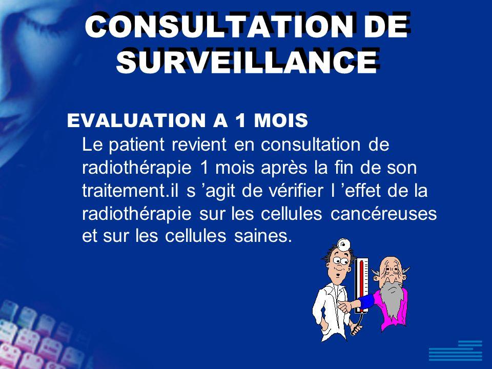CONSULTATION DE SURVEILLANCE EVALUATION A 1 MOIS Le patient revient en consultation de radiothérapie 1 mois après la fin de son traitement.il s agit d