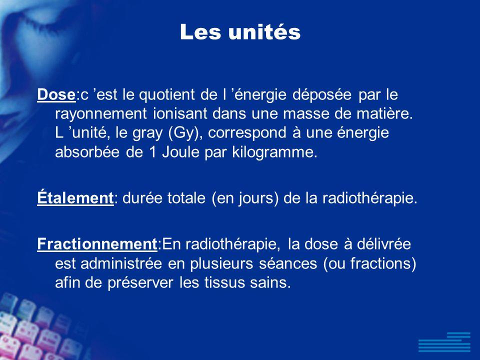Les unités Dose:c est le quotient de l énergie déposée par le rayonnement ionisant dans une masse de matière. L unité, le gray (Gy), correspond à une