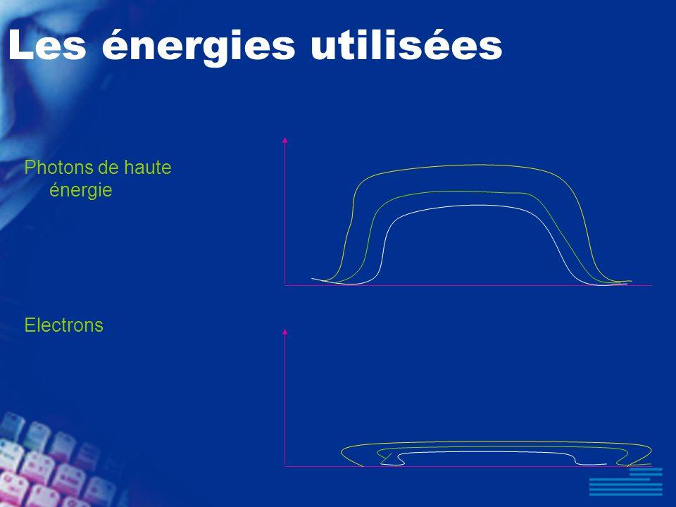 Les énergies utilisées Photons de haute énergie Electrons