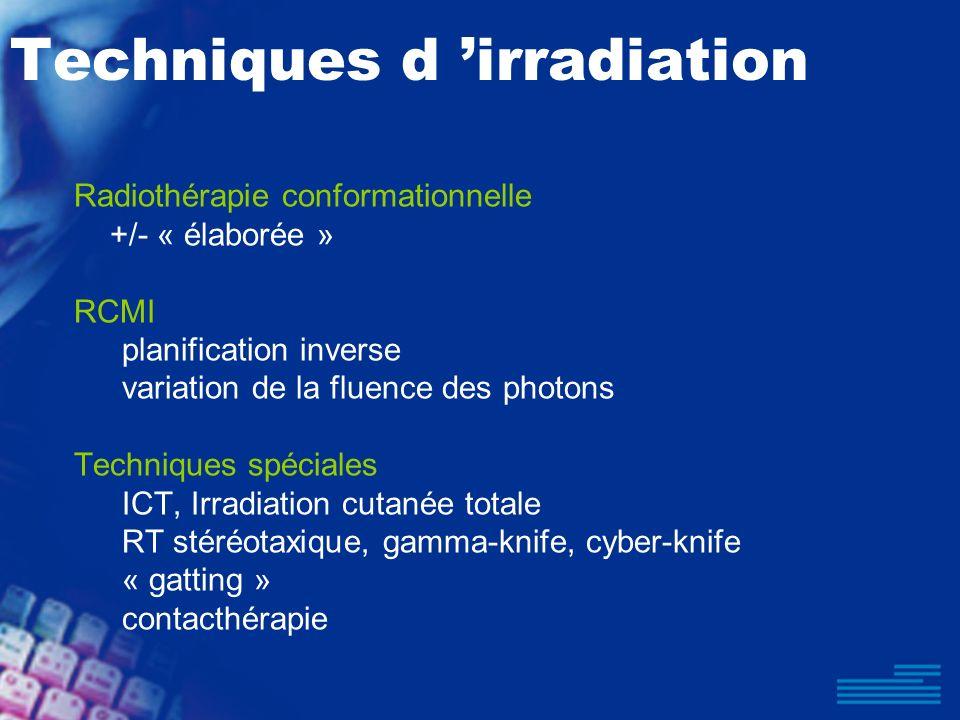 Techniques d irradiation Radiothérapie conformationnelle +/- « élaborée » RCMI planification inverse variation de la fluence des photons Techniques sp