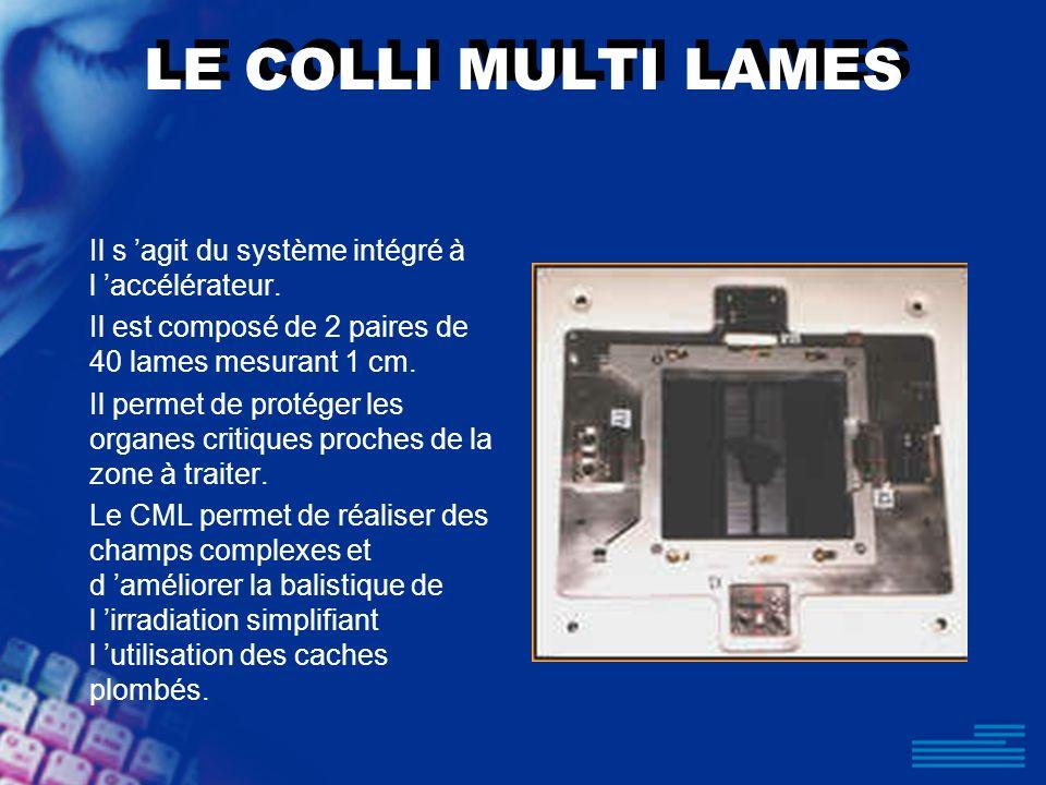 LE COLLI MULTI LAMES Il s agit du système intégré à l accélérateur. Il est composé de 2 paires de 40 lames mesurant 1 cm. Il permet de protéger les or