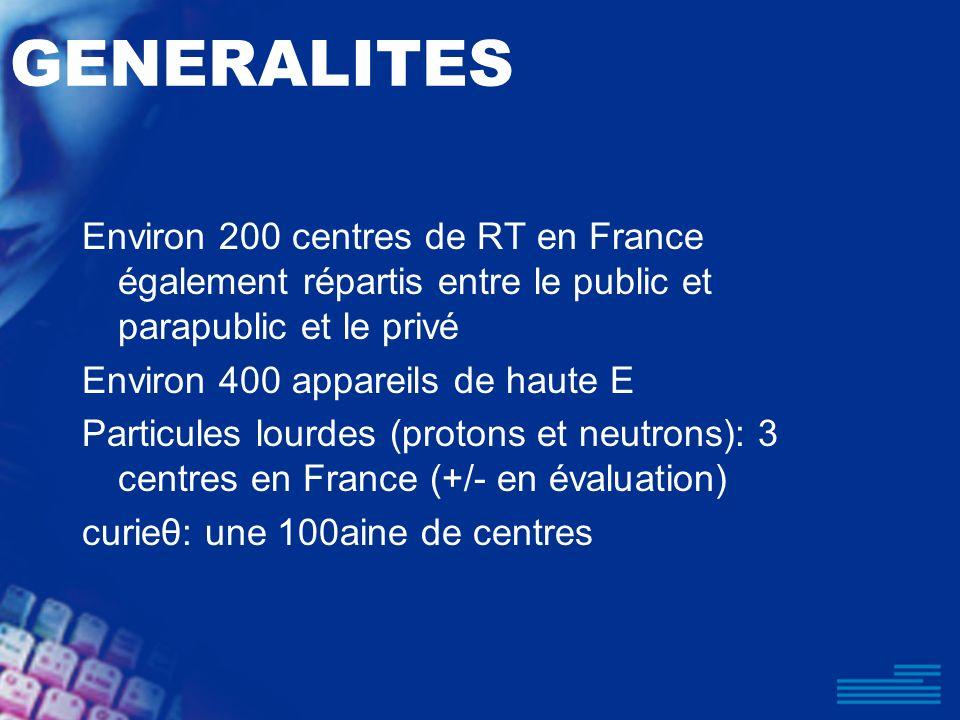 GENERALITES Environ 200 centres de RT en France également répartis entre le public et parapublic et le privé Environ 400 appareils de haute E Particul