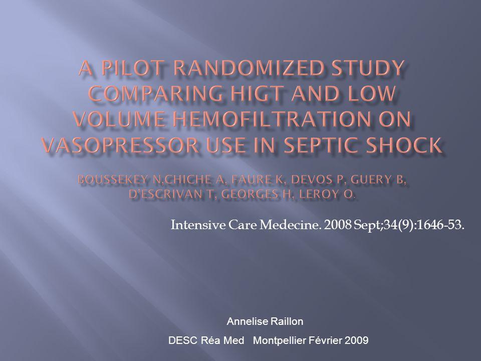 Intensive Care Medecine. 2008 Sept;34(9):1646-53. Annelise Raillon DESC Réa Med Montpellier Février 2009