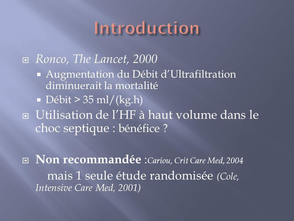 Ronco, The Lancet, 2000 Augmentation du Débit dUltrafiltration diminuerait la mortalité Débit > 35 ml/(kg.h) Utilisation de lHF à haut volume dans le