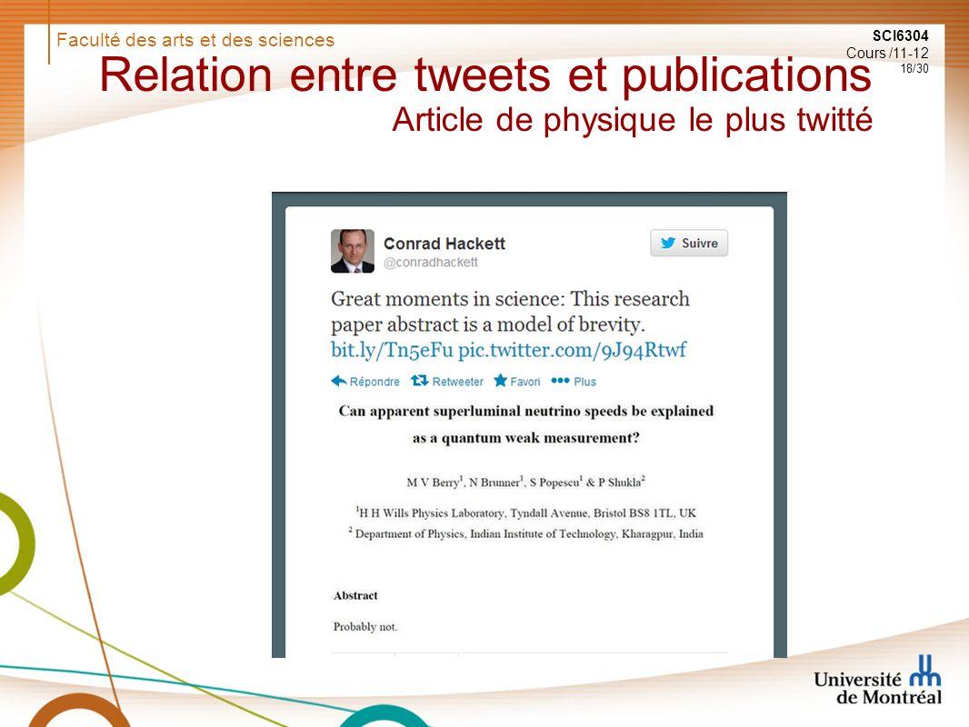 Faculté des arts et des sciences SCI6304 Cours /11-12 18/30 Relation entre tweets et publications Article de physique le plus twitté