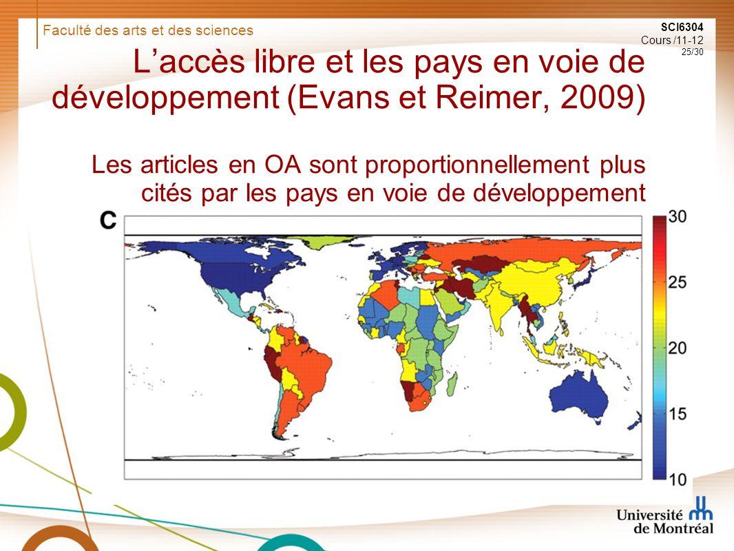 Faculté des arts et des sciences SCI6304 Cours /11-12 25/30 Laccès libre et les pays en voie de développement (Evans et Reimer, 2009) Les articles en OA sont proportionnellement plus cités par les pays en voie de développement