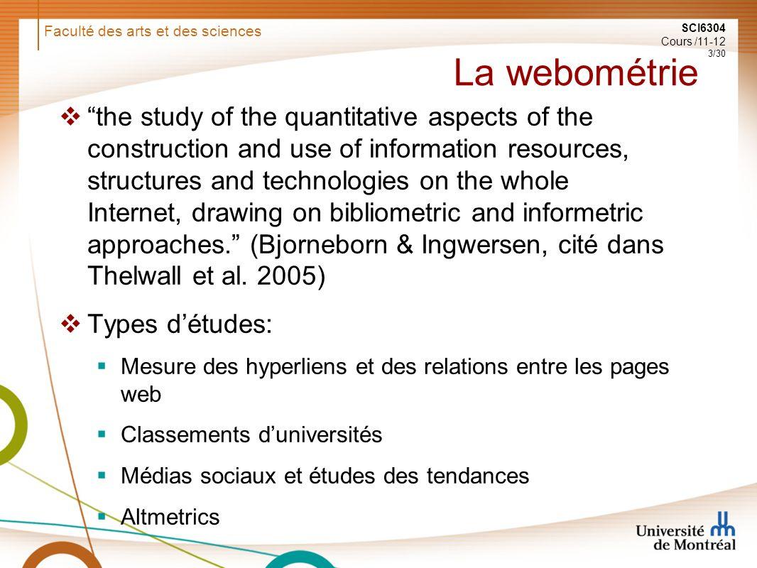 Faculté des arts et des sciences SCI6304 Cours /11-12 14/30 Relation entre mentions sur Twitter et citations (Shuai et al., 2012)