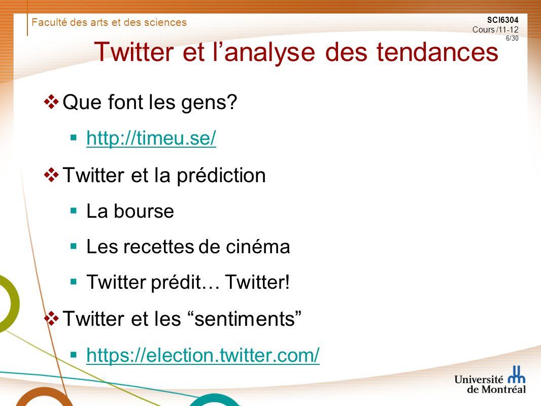 Faculté des arts et des sciences SCI6304 Cours /11-12 6/30 Twitter et lanalyse des tendances Que font les gens.