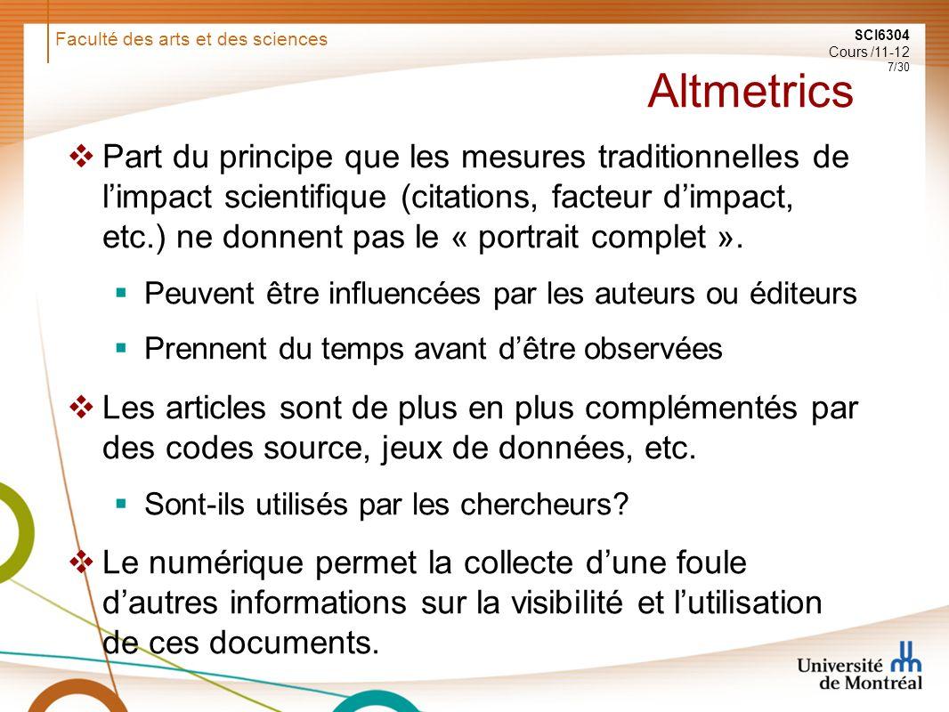 Faculté des arts et des sciences SCI6304 Cours /11-12 8/30 Utilisation par les revues: PLOS