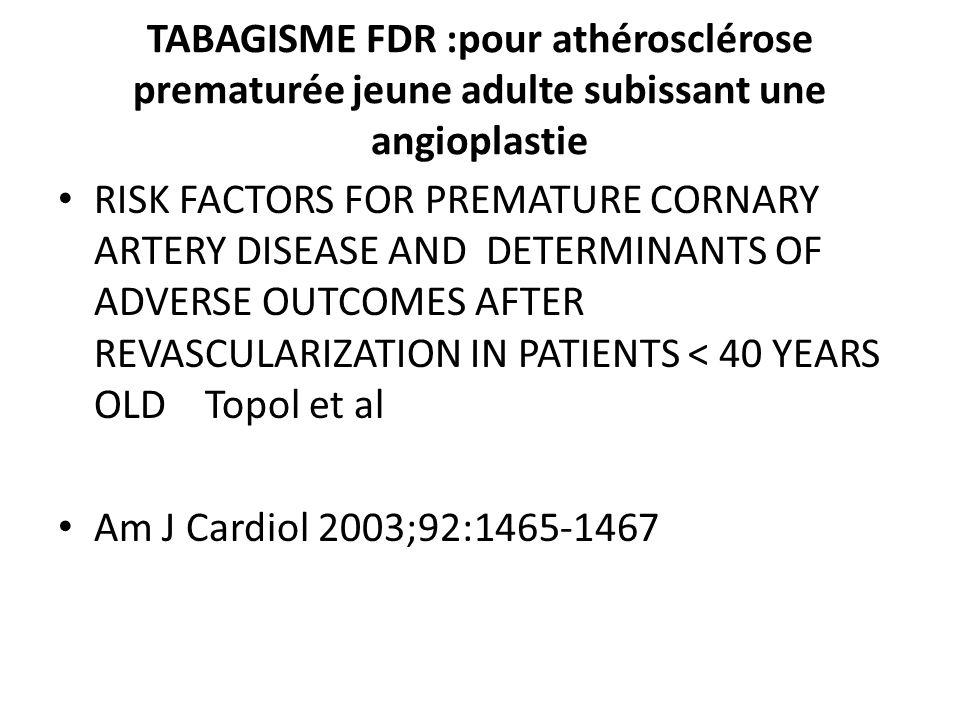 TABAGISME FDR :pour athérosclérose prematurée jeune adulte subissant une angioplastie RISK FACTORS FOR PREMATURE CORNARY ARTERY DISEASE AND DETERMINAN