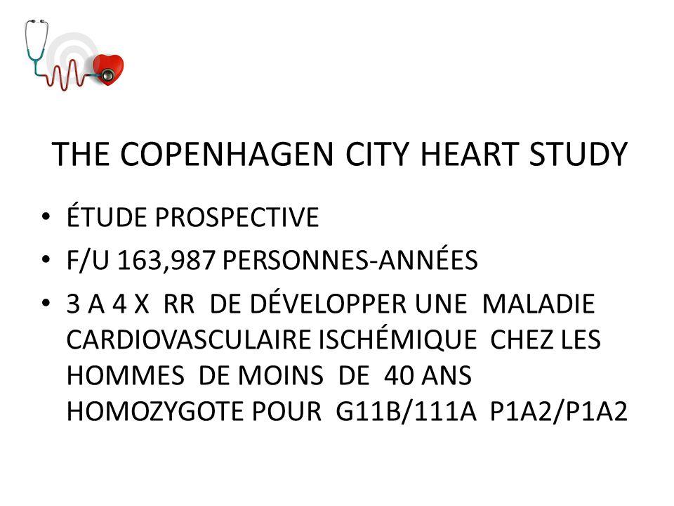 THE COPENHAGEN CITY HEART STUDY ÉTUDE PROSPECTIVE F/U 163,987 PERSONNES-ANNÉES 3 A 4 X RR DE DÉVELOPPER UNE MALADIE CARDIOVASCULAIRE ISCHÉMIQUE CHEZ L