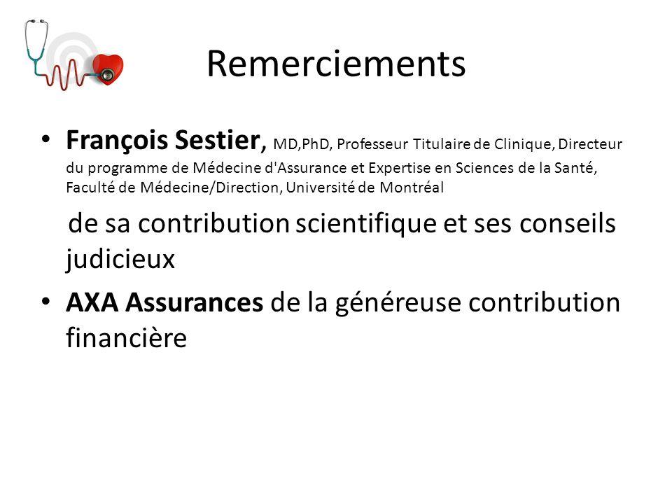 Remerciements François Sestier, MD,PhD, Professeur Titulaire de Clinique, Directeur du programme de Médecine d'Assurance et Expertise en Sciences de l