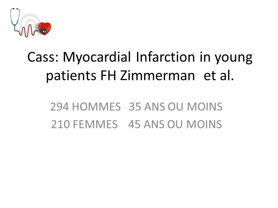 Cass: Myocardial Infarction in young patients FH Zimmerman et al. 294 HOMMES 35 ANS OU MOINS 210 FEMMES 45 ANS OU MOINS