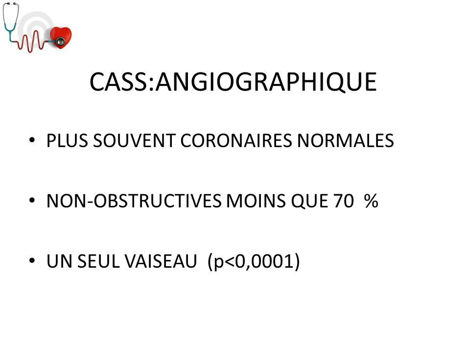 CASS:ANGIOGRAPHIQUE PLUS SOUVENT CORONAIRES NORMALES NON-OBSTRUCTIVES MOINS QUE 70 % UN SEUL VAISEAU (p<0,0001)