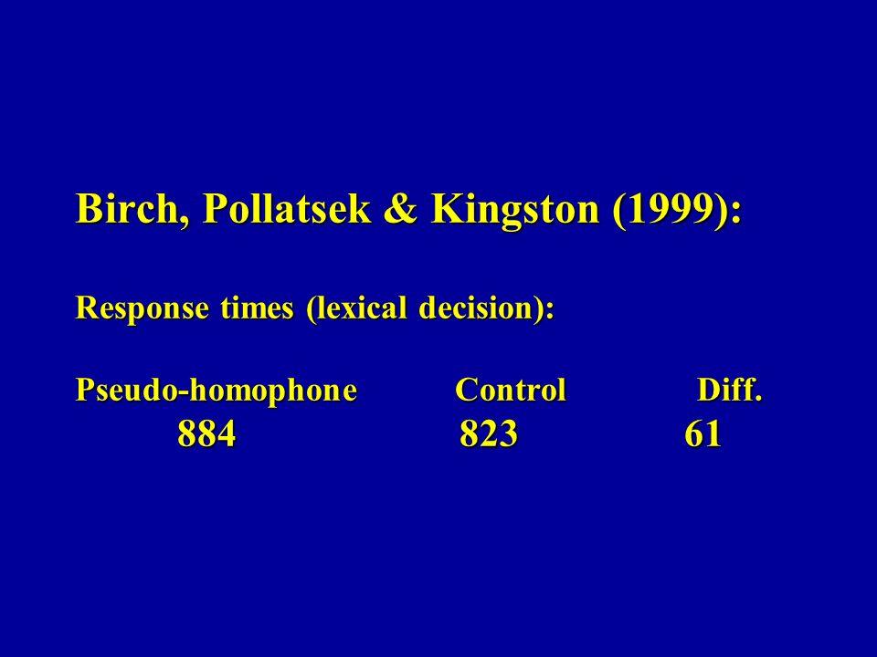 Birch, Pollatsek & Kingston (1999): Response times (lexical decision): Pseudo-homophone Control Diff. 884 823 61