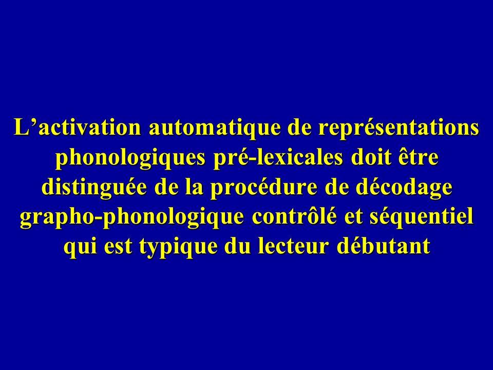 Lactivation automatique de représentations phonologiques pré-lexicales doit être distinguée de la procédure de décodage grapho-phonologique contrôlé e