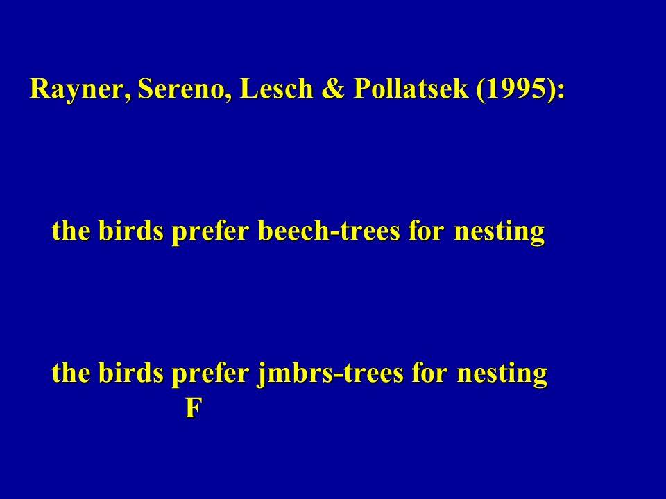 Rayner, Sereno, Lesch & Pollatsek (1995): the birds prefer beech-trees for nesting the birds prefer jmbrs-trees for nesting F