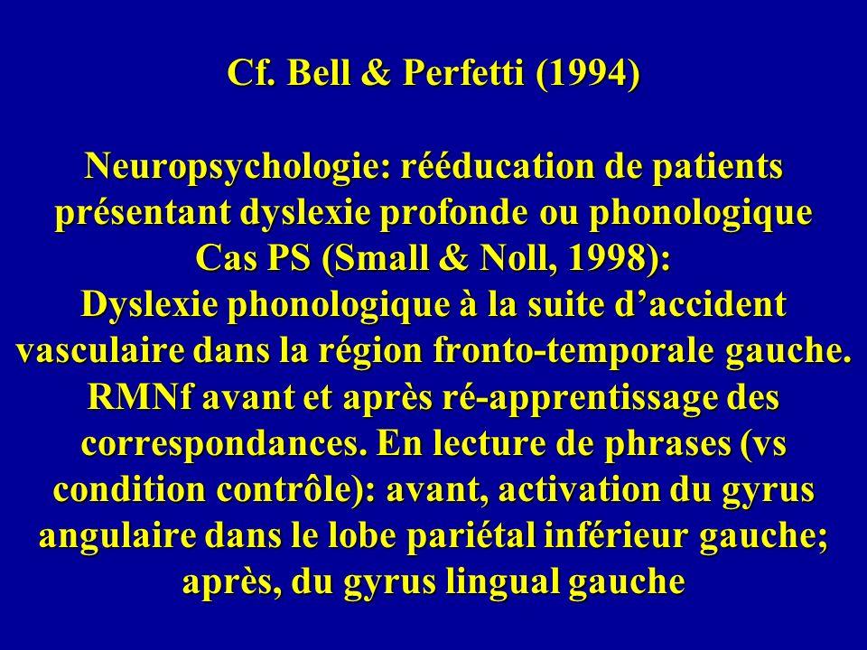 Cf. Bell & Perfetti (1994) Neuropsychologie: rééducation de patients présentant dyslexie profonde ou phonologique Cas PS (Small & Noll, 1998): Dyslexi