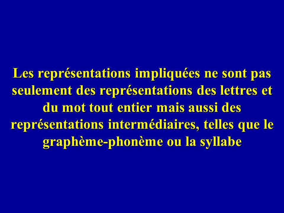 Les représentations impliquées ne sont pas seulement des représentations des lettres et du mot tout entier mais aussi des représentations intermédiair