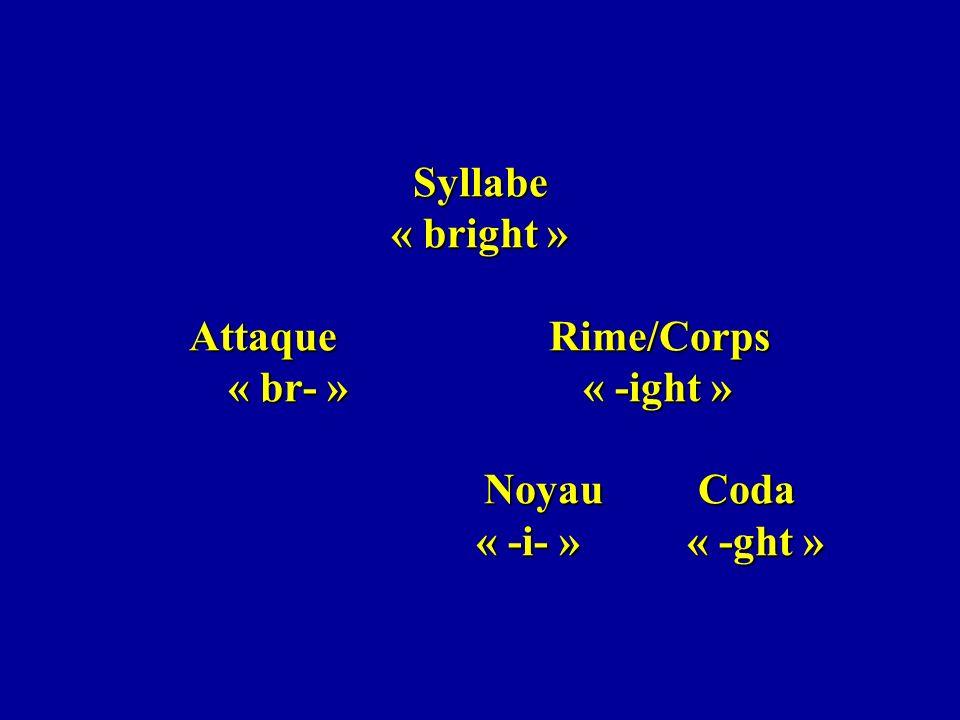 Syllabe « bright » Attaque Rime/Corps « br- » « -ight » Noyau Coda « -i- » « -ght »