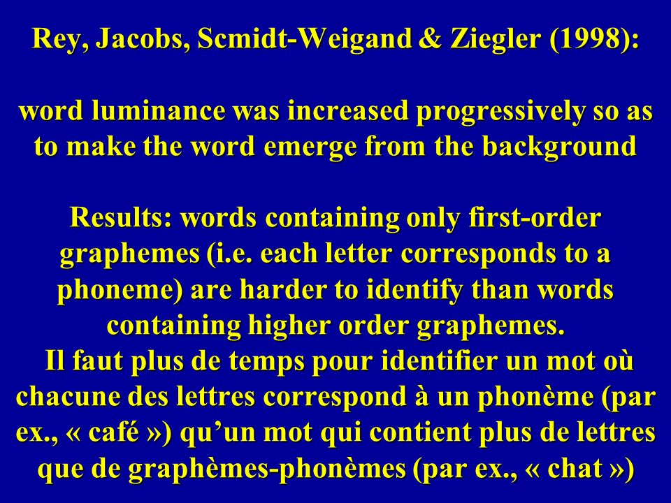 Rey, Jacobs, Scmidt-Weigand & Ziegler (1998): word luminance was increased progressively so as to make the word emerge from the background Results: wo