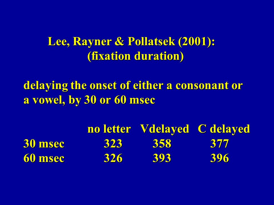 Lee, Rayner & Pollatsek (2001): (fixation duration) delaying the onset of either a consonant or a vowel, by 30 or 60 msec no letter Vdelayed C delayed