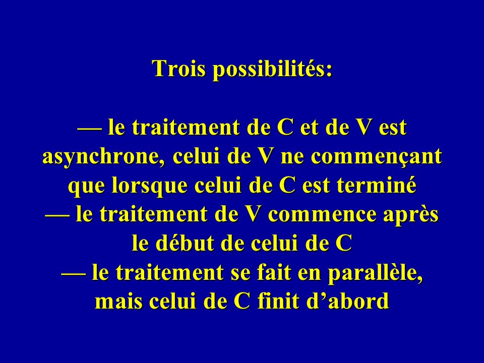 Trois possibilités: le traitement de C et de V est asynchrone, celui de V ne commençant que lorsque celui de C est terminé le traitement de V commence
