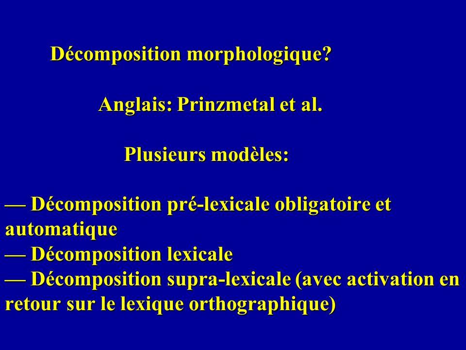 Décomposition morphologique? Anglais: Prinzmetal et al. Plusieurs modèles: Décomposition pré-lexicale obligatoire et automatique Décomposition lexical