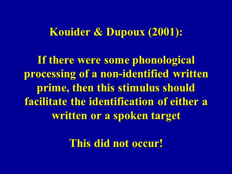 Lee, Rayner & Pollatsek (2001): (durée de la fixation) en retardant le moment de présentation soit de la voyelle soit de la consonne, en 30 ou 60 msec sans retard retard V retard C 30 msec 323 358 377 60 msec 326 393 396