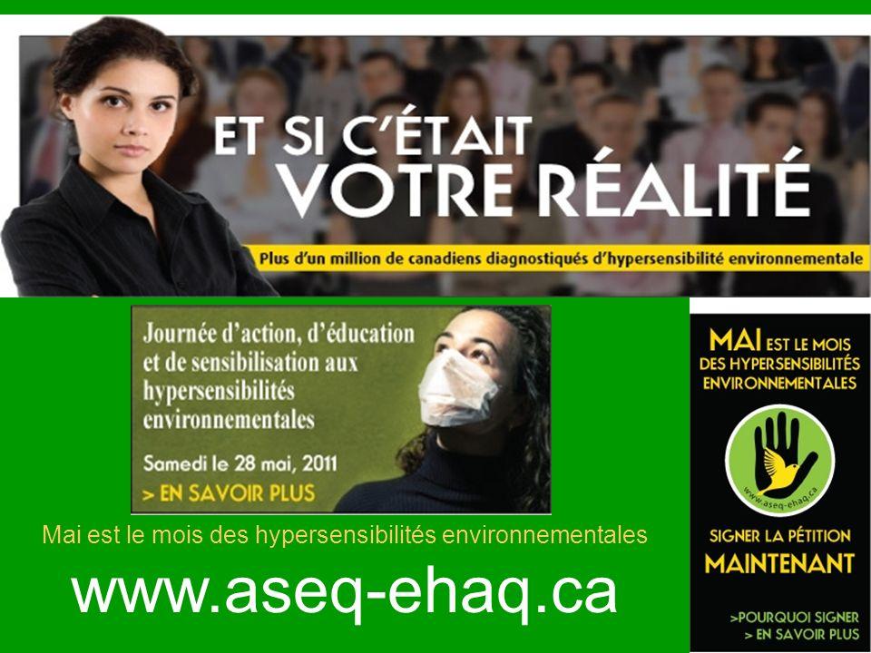 Mai est le mois des hypersensibilités environnementales www.aseq-ehaq.ca