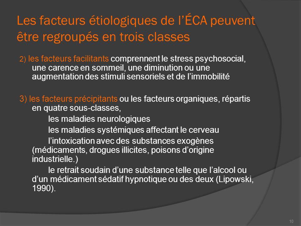 Les facteurs étiologiques de lÉCA peuvent être regroupés en trois classes 2) les facteurs facilitants comprennent le stress psychosocial, une carence