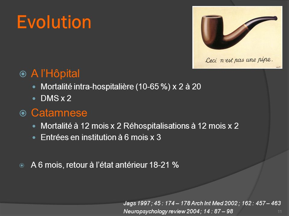Evolution A lHôpital Mortalité intra-hospitalière (10-65 %) x 2 à 20 DMS x 2 Catamnese Mortalité à 12 mois x 2 Réhospitalisations à 12 mois x 2 Entrée