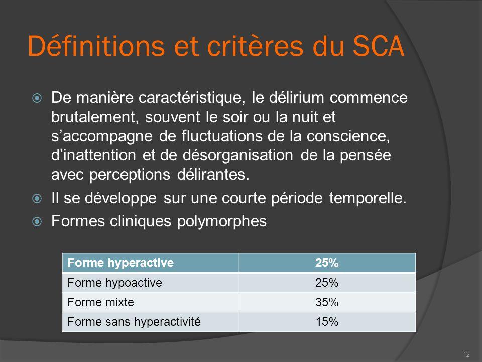 Définitions et critères du SCA De manière caractéristique, le délirium commence brutalement, souvent le soir ou la nuit et saccompagne de fluctuations