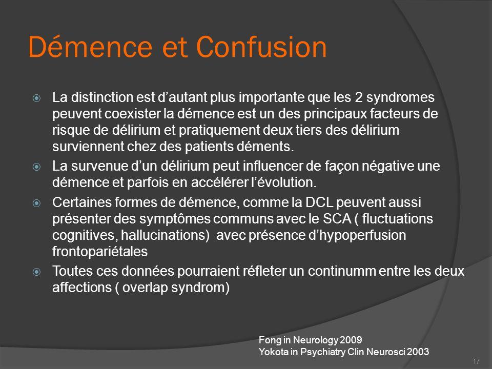 Démence et Confusion La distinction est dautant plus importante que les 2 syndromes peuvent coexister la démence est un des principaux facteurs de ris