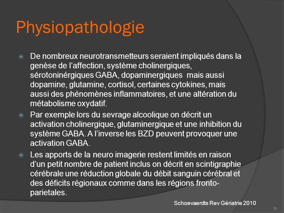 Physiopathologie De nombreux neurotransmetteurs seraient impliqués dans la genèse de laffection, système cholinergiques, sérotoninérgiques GABA, dopam