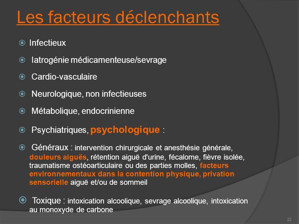 Les facteurs déclenchants Infectieux Iatrogénie médicamenteuse/sevrage Cardio-vasculaire Neurologique, non infectieuses Métabolique, endocrinienne Psy