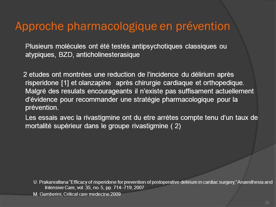 Approche pharmacologique en prévention Plusieurs molécules ont été testés antipsychotiques classiques ou atypiques, BZD, anticholinesterasique 2 etude