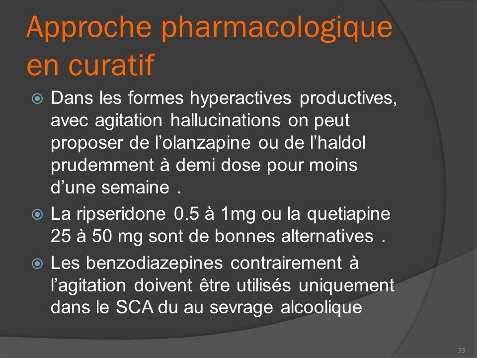 Approche pharmacologique en curatif Dans les formes hyperactives productives, avec agitation hallucinations on peut proposer de lolanzapine ou de lhal