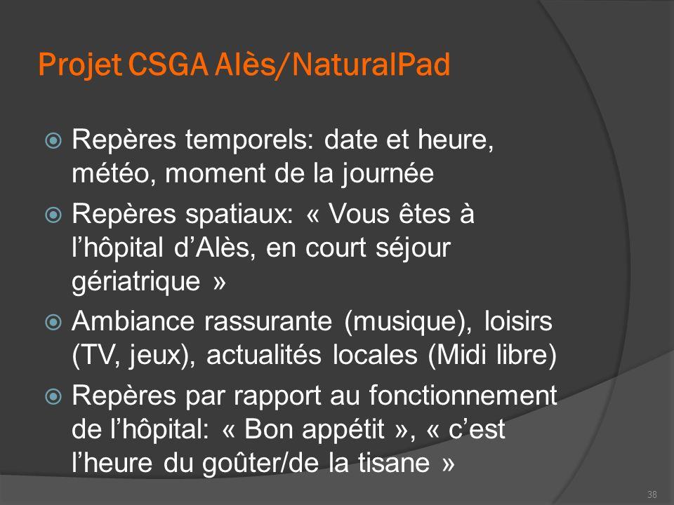 Projet CSGA Alès/NaturalPad Repères temporels: date et heure, météo, moment de la journée Repères spatiaux: « Vous êtes à lhôpital dAlès, en court séj