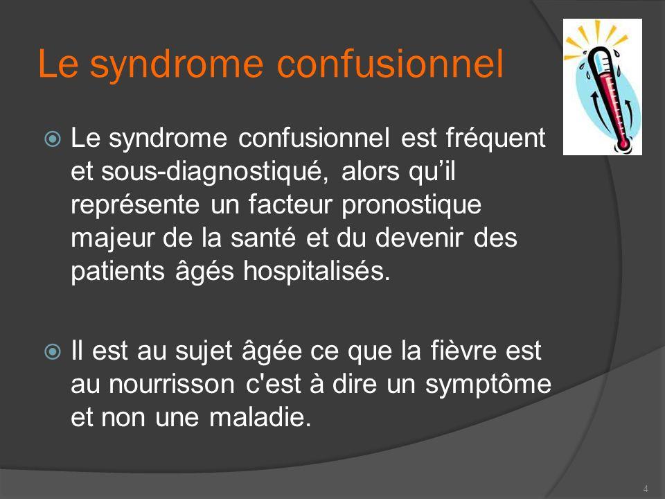 Le syndrome confusionnel Le syndrome confusionnel est fréquent et sous-diagnostiqué, alors quil représente un facteur pronostique majeur de la santé e